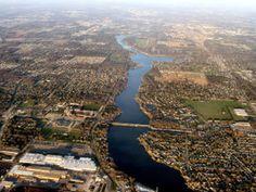 Mishawaka, IN - St. Joseph River flows through the heart of the city and empties into Lake Michigan around St. Joseph, MI