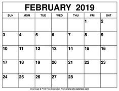 81 Best Blank February 2019 Calendar Template Images In 2019