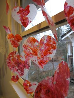 Shaved crayons ironed inside wax paper get ironed to make hearts for Valentines Day, or leaves in fall, pumpkins for Halloween, etc