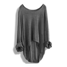 SheIn(sheinside) Grey Round Neck Batwing Dip Hem Knitwear (247.580 IDR) ❤ liked on Polyvore featuring tops, sweaters, grey, acrylic sweater, sweater pullover, batwing sweater, long sleeve sweaters and loose sweater