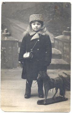 1910 Russia Photo Girl with Purse & Horse