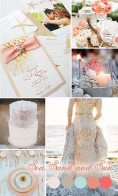 Using a muted color palette of pinks and corals along with starfish and coral images, this line creates a relaxed, breezy feel perfect for a summer beach wedding, and the added ribbon and starfish accents lend an air of luxury to the invitations.