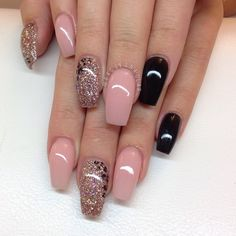 Lovely baby pink, black and glittering gold with leopard print detail on ballerina shape nails #manicure...x