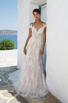 Layered Lace Off the Shoulder Gown with Illusion Neckline and Back