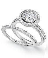 Prestige Unity Diamond Rings, 14k White Gold Diamond Engagement Ring and Wedding Band (1-1/4 ct. t.w.)
