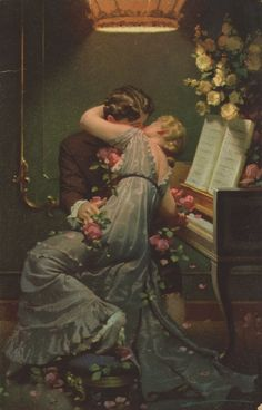 """Kuss mich Liebster."" Love couple, vintage postcard, 1920. Veja também: http://semioticas1.blogspot.com.br/2012/06/gostos-da-belle-epoque.html"