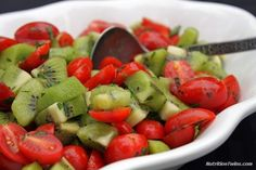 Tomato Kiwi Salsa | Amazing For The Skin | Only 47 Calories | Delish, Healthy Way To Fill Up with Meals as Side Or Topping | #glutenfree #vegan #vegetarian |  For MORE RECIPES please SIGN UP for our FREE NEWSLETTER www.NutritionTwins.com