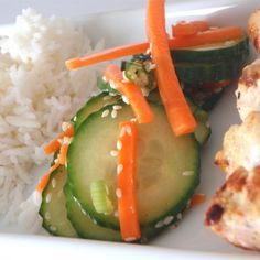 """Korean Cucumber Salad I """"This recipe is great with bbq food, very crisp and refreshing with a little zing, plus very little fat added. We had this side dish with the grilled peanut chicken (from this site) and the two went well together."""""""