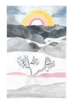 Gouache and watercolour painting of Norwegian mountains in winter sun - Pádhraic Mulholland Illustration - fjellbjørk Winter Sun, Watercolour Painting, Gouache, Art Inspo, Tapestry, Mountains, Illustration, Decor, Hanging Tapestry