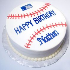 """Baseball cake - This is just a simple 8"""" round CASC made to look like a baseball.  All bc except logo which is a chocolate transfer"""