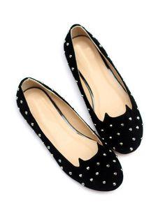 Black Studded Cat Suedette Flats | Choies