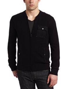 Calvin Klein Sportswear Men`s Full Zip Sweater With Baseball Collar $128.00