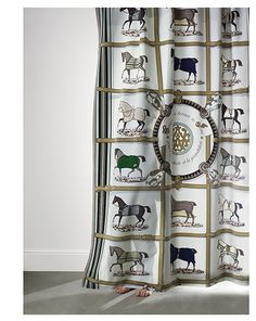 Hermes fabric collection (check those little feet under the curtain Equestrian Decor, Equestrian Style, Hermes Home, Westerns, Horse Fabric, Art Deco Design, Illustrations, Custom Furniture, Fabric Decor