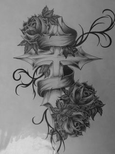 Cross with roses tattoo....  Look into even more at the picture