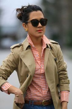 Plaid with a classic trench