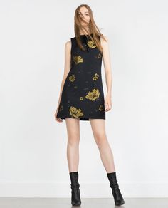 I like this because it is simple, black, with a pop of color. Vestidos Zara, Jumpsuit Dress, I Dress, Zara Dresses, 2015 Dresses, Jacquard Dress, Zara Women, Well Dressed, Fashion Outfits