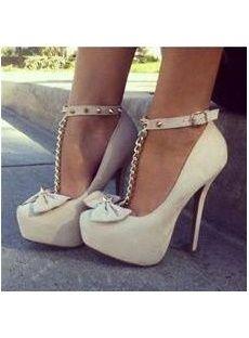 Elegant Wthie Glaring Bowtie Ankle Strap Women High Heel Shoes