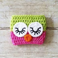 Crochet Owl Coffee Cup Cozy Cozies Mom Life I Love Coffee
