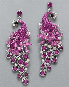 Peacock Fuchsia and Pink Earrings at PromDressShop.com