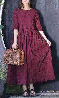 Elegant o neck half sleeve cotton clothes Stitches Neckline burgundy dotted Traveling Dress Summer Linen Dresses, Cotton Dresses, Casual Dresses, Fashion Dresses, Summer Dress Outfits, Summer Dresses For Women, Dress Summer, Wedding Dress Silhouette, Pakistani Fashion Casual