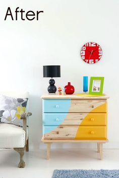 Give a wooden piece a makeover by stripping off the old paint – then layering on two bold colors!