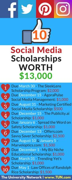 Calling all social media gurus! All the scholarships on this list revolve around the theme of social media or ask you to use social media in the application process!