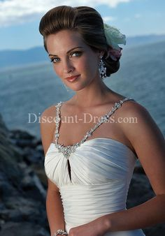 A-Line Sweetheart Floor Length Attached Whisper Chiffon Beading Wedding Dress style 11426 - - US$129.00