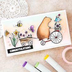 Copic colouring video tutorial by Debby Hughes using the Waffle Flower and Big Bear & Bird Happy Day stamp set. Find out more about this card by clicking on the following link: http://limedoodledesign.com/2017/03/video-copic-colouring-ink-blended-background/
