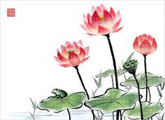 식물, 오브젝트, 한국, 수묵화, 프리진, 한국그림, 동양, 페인터, 연잎, 개구리, 동양화, 연꽃, 일러스트, 프리진 #유토이미지 #프리진 #utoimage #freegine 9123119
