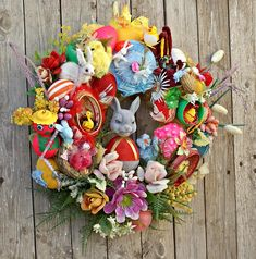 Easter Wreaths, Easter Wreath for Front Door, Easter Decorations, Easter Bunny, Easter Decor, Easter Egg, Vintage Easter Ornaments Wreath A wonderful handmade kitsch Easter wreath, ready to spread some smiles, chuckles and holiday cheer. This one of a kind creation would look