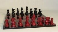 Black and Red Lacquer Classic Chess Set