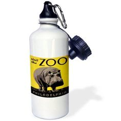 3dRose Visit the Zoo Philadelphia with Large Hippo on Yellow Background, Sports Water Bottle, 21oz