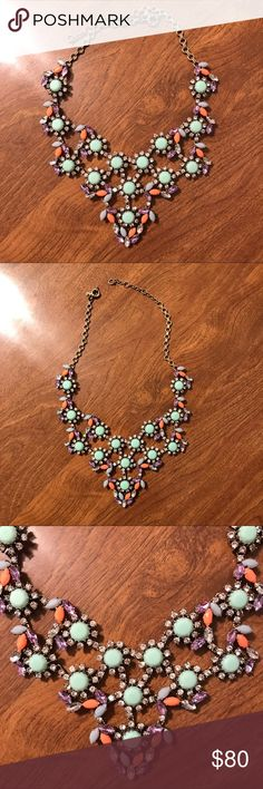 J. Crew statement necklace! J. Crew statement necklace. This piece is from the higher end jewelry collection from J Crew. Worn once on my honeymoon. It is a larger necklace and makes quite a statement. J. Crew Jewelry Necklaces