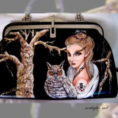 Restoring my vintage bag with an artwork. #handpaintedbag #vintagebag #owlbag #acrylic #ncatigbemd #restoredbag