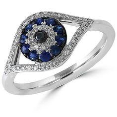 Effy Royale Bleu Sapphire, Diamond and 14K White Gold Evil Eye Ring (20.715.000 IDR) ❤ liked on Polyvore featuring jewelry, rings, blue, blue diamond jewelry, sapphire ring, blue diamond ring, fine jewelry diamond rings and diamond jewelry