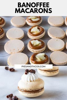 These Banoffee Macarons are filled with banana and dulce de leche. Topped with whipped cream for an extra delicious touch! Raw Desserts, Cookie Desserts, Just Desserts, Cookie Recipes, Delicious Desserts, Dessert Recipes, Health Desserts, Macaron Cookies, French Macaroons