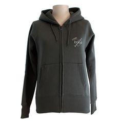 Grey zipped hoodie with sparkle print   front