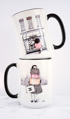 Chanel inspired coffee mugs, illustrations by anna hammer