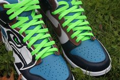 seahawk green shoes | Seattle Seahawks Nike Dunks - Custom Kicks | Proof Culture - A Sneaker ...