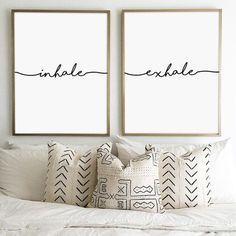 Inhale Exhale Print, Yoga Print, Pilates Poster, Relaxation Gifts, Breathe Print, Inspirational Print, Modern, Minimalist Typography Art