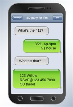 Printable cell phone text message birthday invitation iphone sms invitation template customize add text and photos print download send stopboris Gallery