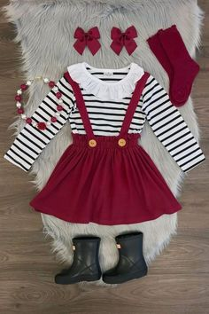 Burgundy Suspender Skirt Set – Back to School Baby Outfits, Little Girl Outfits, Kids Outfits Girls, Cute Outfits For Kids, Baby Girl Dresses, Toddler Outfits, Baby Dress, Cute Girl Outfits, Baby Girl Fashion