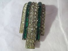 Art Deco 1940s Green and Clear Rhinestone Baguette Dress or Fur Clip or Wear as Pendant