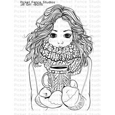 Photopolymer stamps designed by Nicole Petersen. Stamp is approx. Coordinates with Jill Girl die Printable Adult Coloring Pages, Coloring Book Pages, Tumblr Coloring Pages, Diy Xmas, Tampons Transparents, Diy For Girls, Digital Stamps, Mandala Art, Clear Stamps