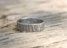tree bark wedding band . mens woodgrain band ring .  eco recycled silver band . custom size personalized secret message on Etsy, $139.00