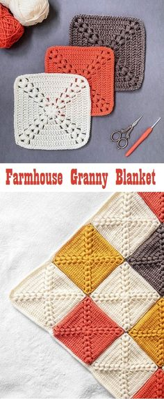 Farmhouse Granny Square Blanket Free Crochet Pattern + Video - Knitting is so . - Farmhouse Granny Square Blanket Free Crochet Pattern + Video – Knitting is as easy as 3 Kni - Motifs Granny Square, Granny Square Crochet Pattern, Crochet Blocks, Free Crochet Square, Granny Square Projects, Granny Square Tutorial, All Free Crochet, Crochet Crafts, Knit Crochet
