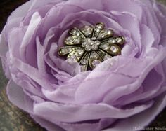 Wedding Hair Flower, Lilac/Lavender Rhinestone Hair Flower, Bridal Accessory