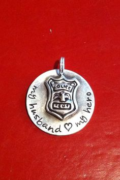 Police Badge Pendant, for the proud Police Officer Wife, Mom, or Daughter...Sterling Silver Hand Stamped