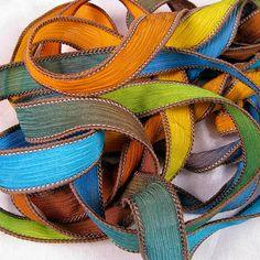 Hand Dyed Silk Ribbon Crinkle Silk Jewelry Bracelet by Quintess
