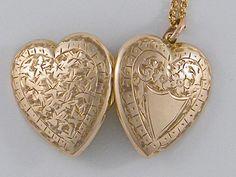 1901's True Love 9K Antique Gold Locket Necklace Victorian Edwardian Rose Gold Heart Wedding Anniversary Birthday Jewelery Gift